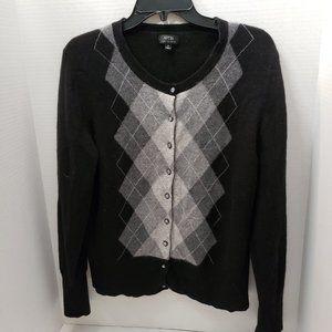 APT 9 Womens 100% Cashmere Argyle Button Sweater L